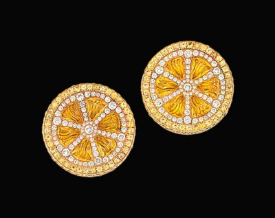 A pair of 18ct gold, diamond a