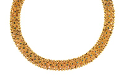 A sapphire and ruby-set neckla