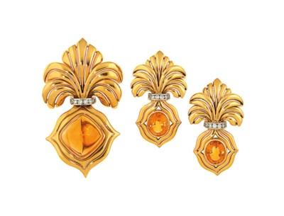A citrine and diamond brooch a