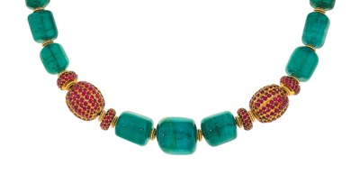 An emerald and ruby necklace