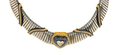 A diamond and hematite necklac