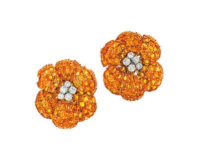 A pair of orange sapphire and