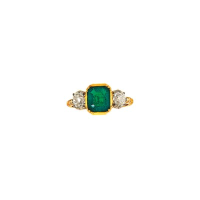 An 18ct gold emerald and diamo