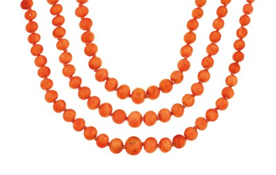A group of coral necklaces