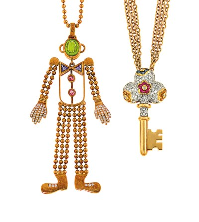 Three diamond and gem-set pend