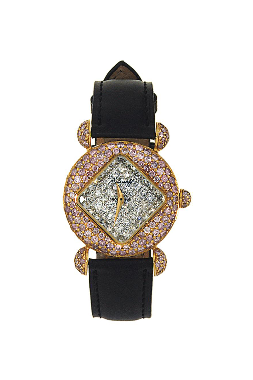 A coloured diamond and diamond quartz wristwatch, by Moussaieff