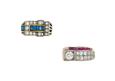Two mid 20th century diamond a
