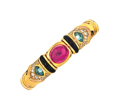 A pink and green sapphire, ena
