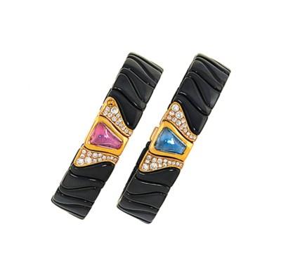 Two sapphire and diamond bangl