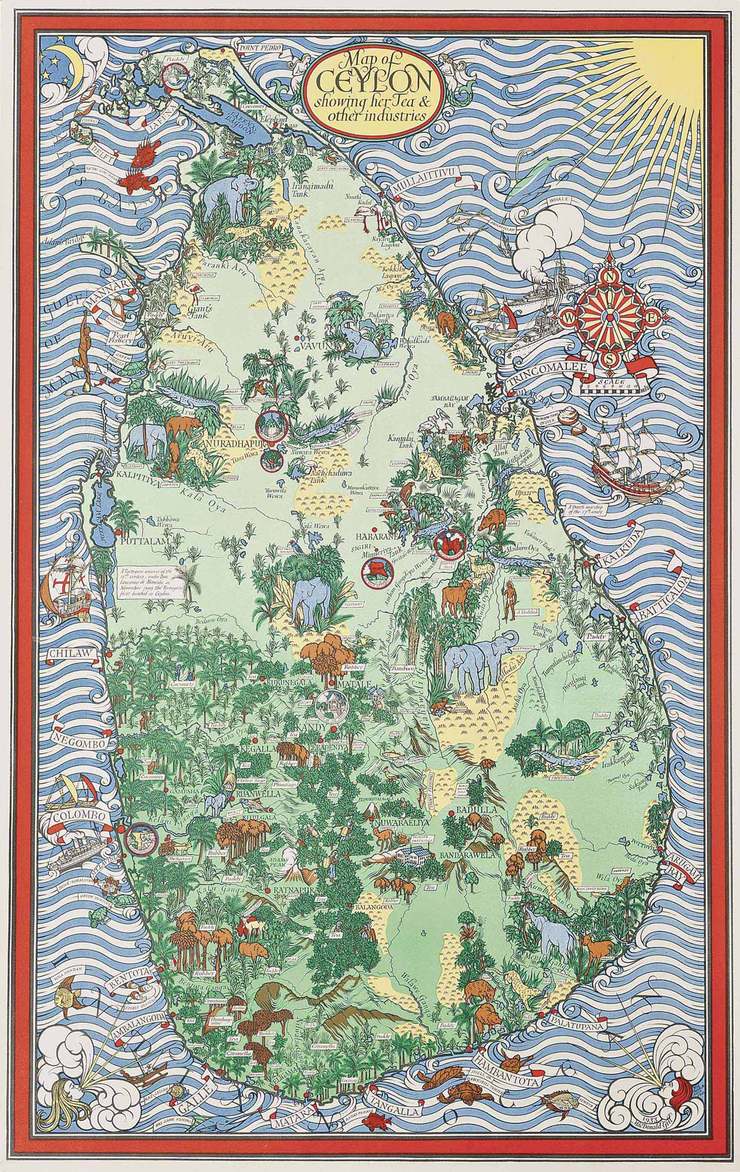 MAP OF CEYLON SHOWING HER TEA AND OTHER INDUSTRIES