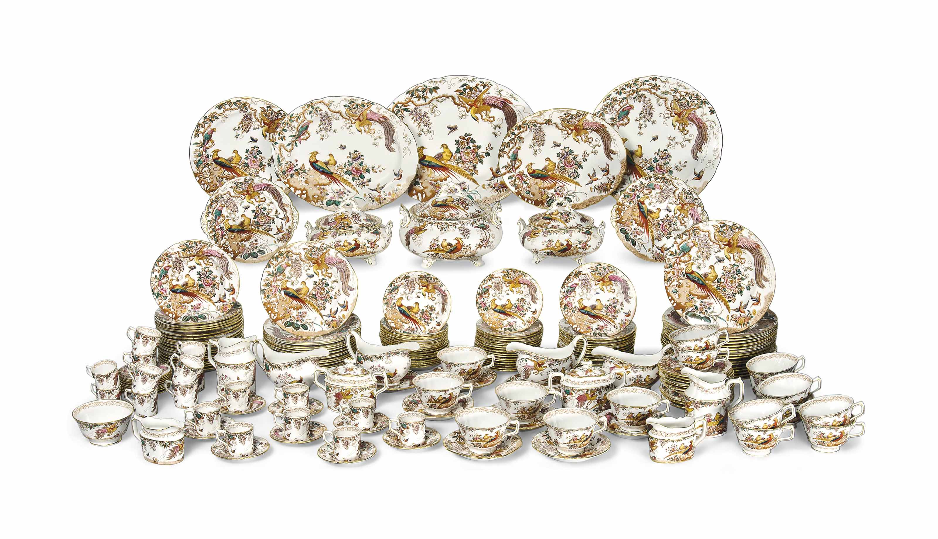AN EXTENSIVE ROYAL CROWN DERBY 'OLDE AVESBURY' PATTERN DINNER, TEA AND COFFEE-SERVICE