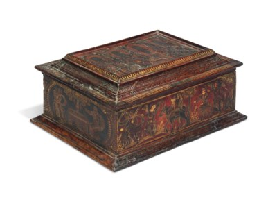 A VENETIAN TOOLED, GILT AND PA