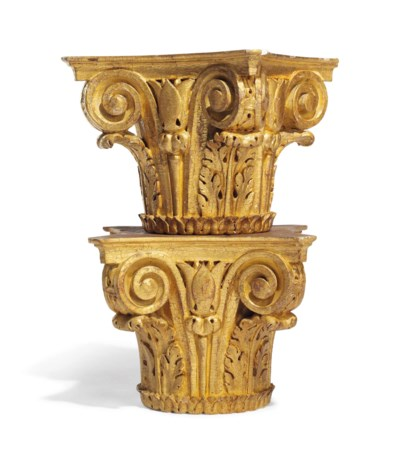 A PAIR OF CARVED GILTWOOD CORI