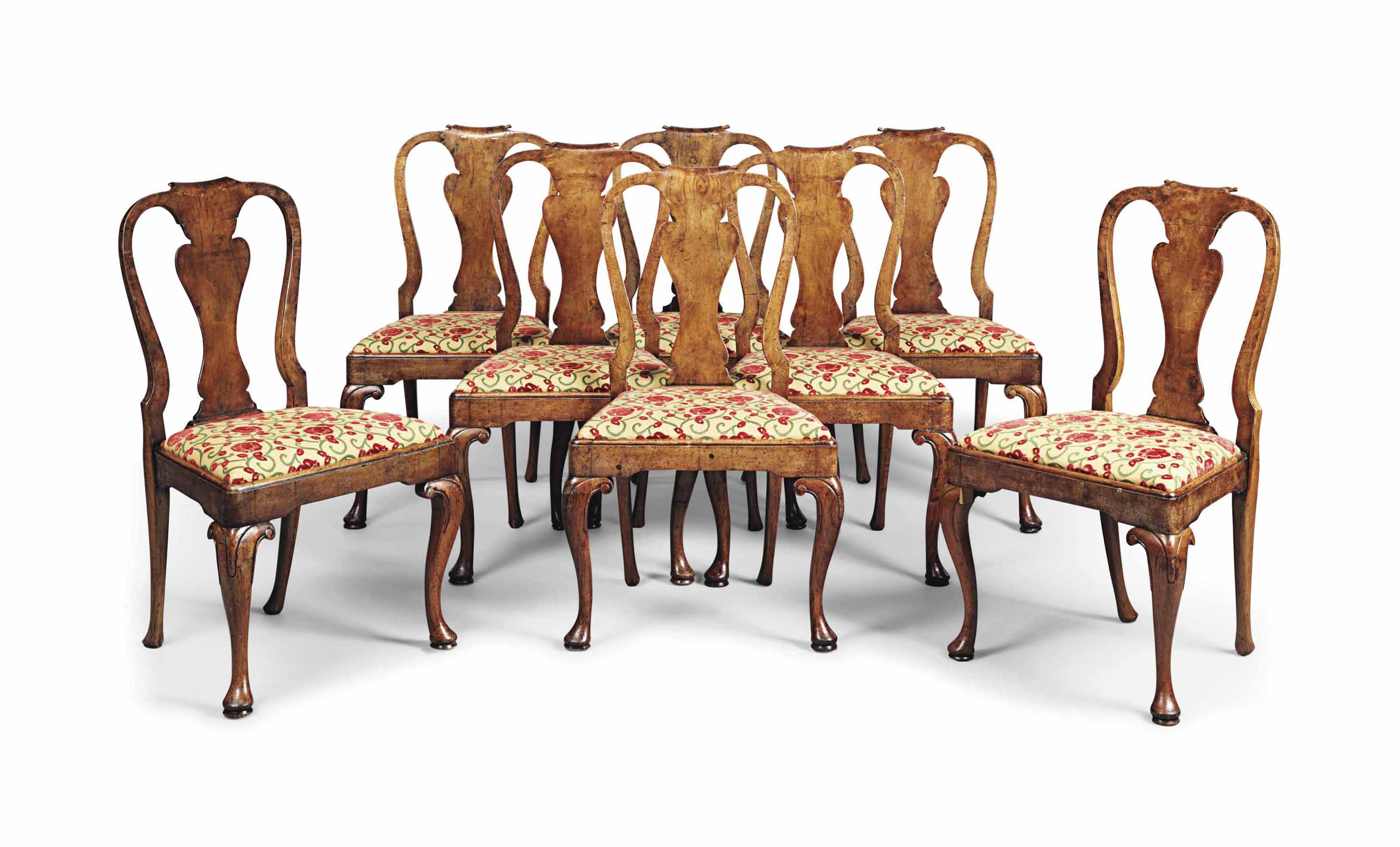A SET OF EIGHT EDWARDIAN WALNU