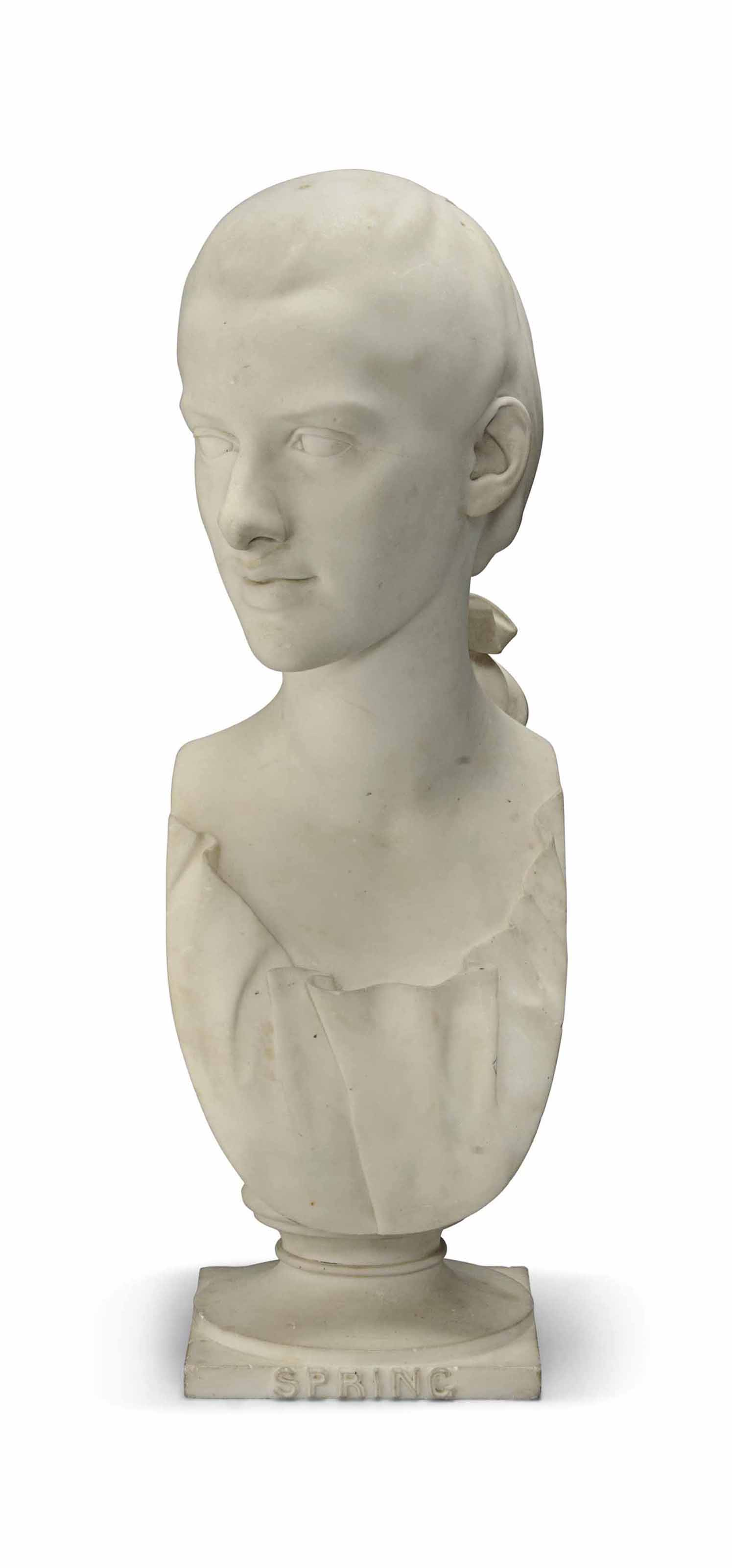 A MARBLE BUST OF A GIRL PERSON