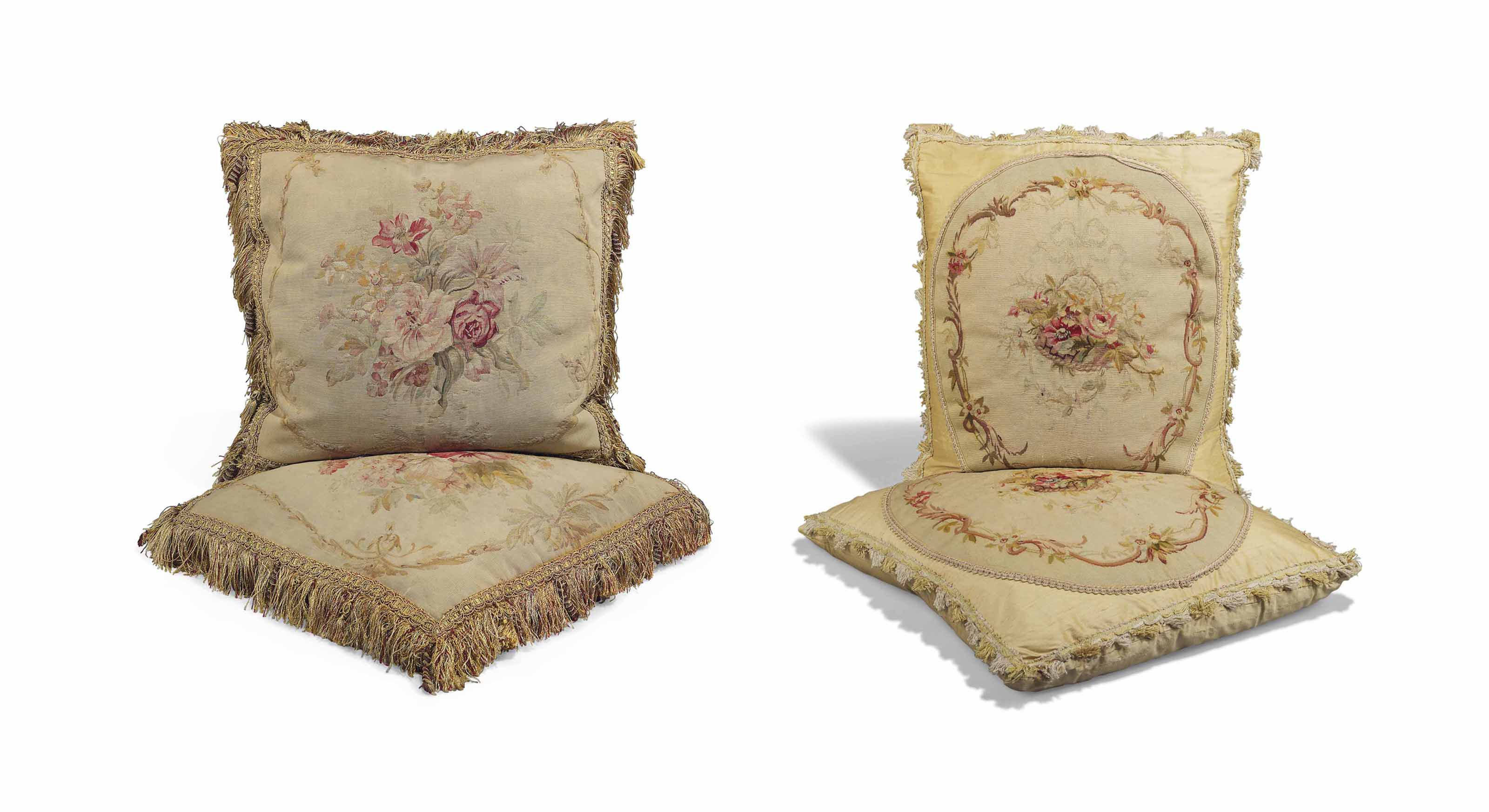 TWO PAIRS OF FRENCH AUBUSSON T