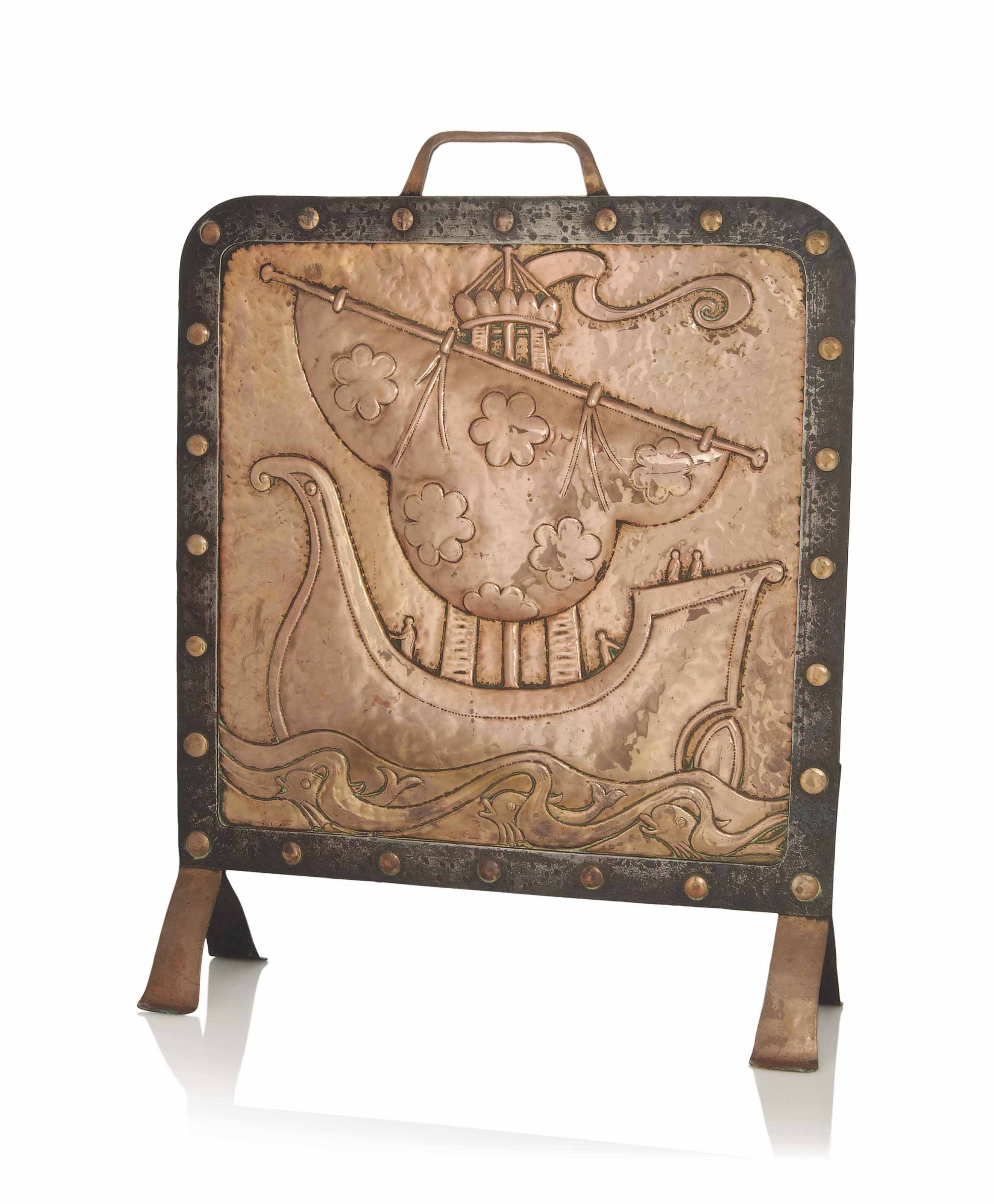 A JOHN PEARSON ARTS & CRAFTS COPPER AND WROUGHT IRON FIRE SCREEN