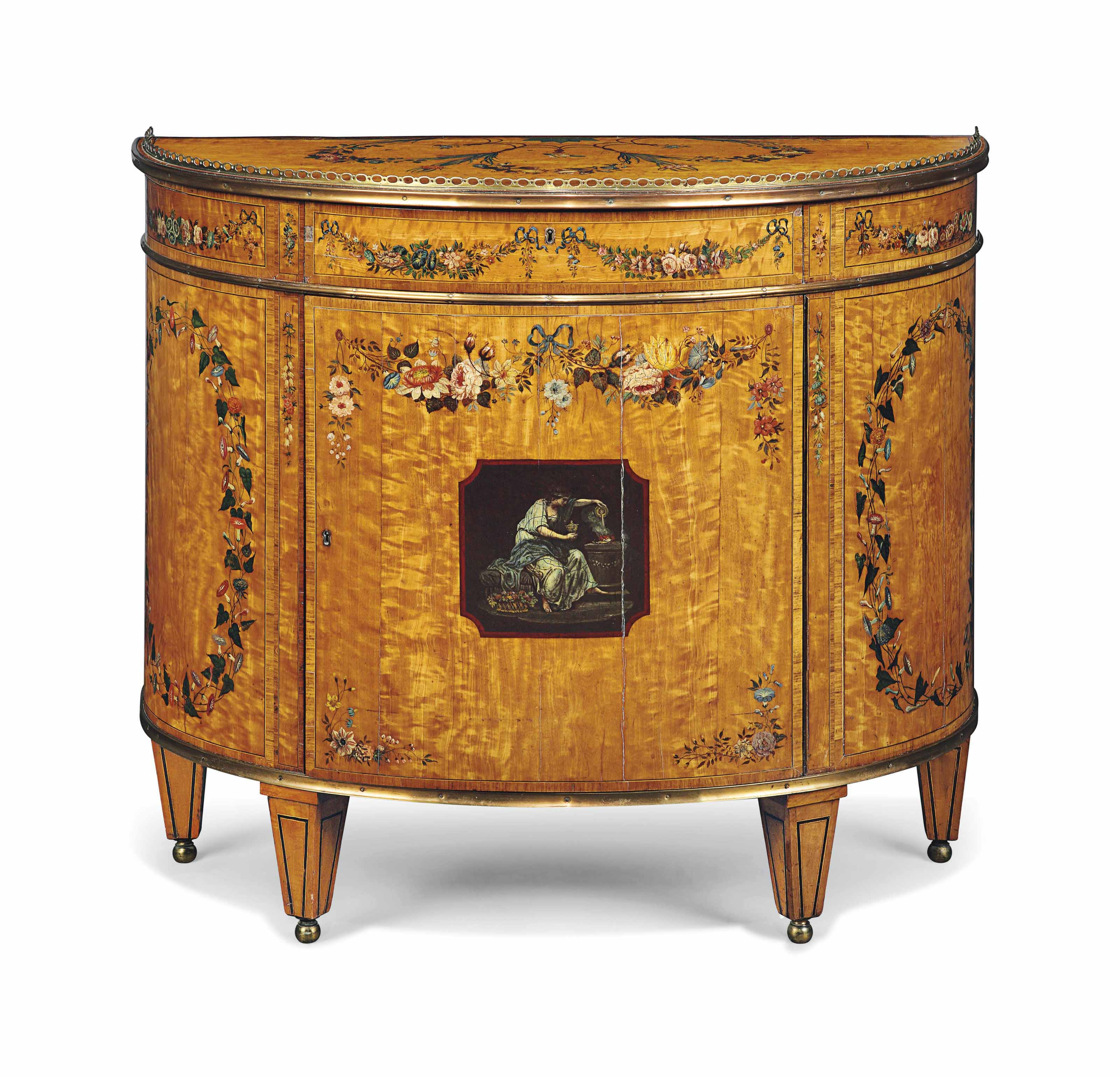 A GEORGE III ROSEWOOD-CROSSBANDED, SATINWOOD AND POLYCHROME-DECORATED DEMI-LUNE COMMODE