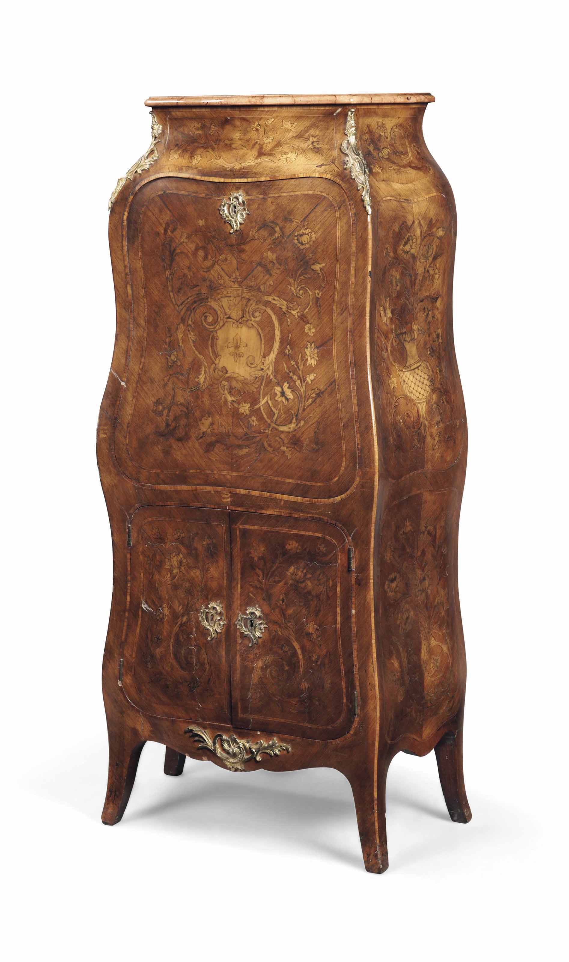 A FRENCH ORMOLU-MOUNTED KINGWOOD, TULIPWOOD AND MARQUETRY BOMBE SECRETAIRE A ABATTANT