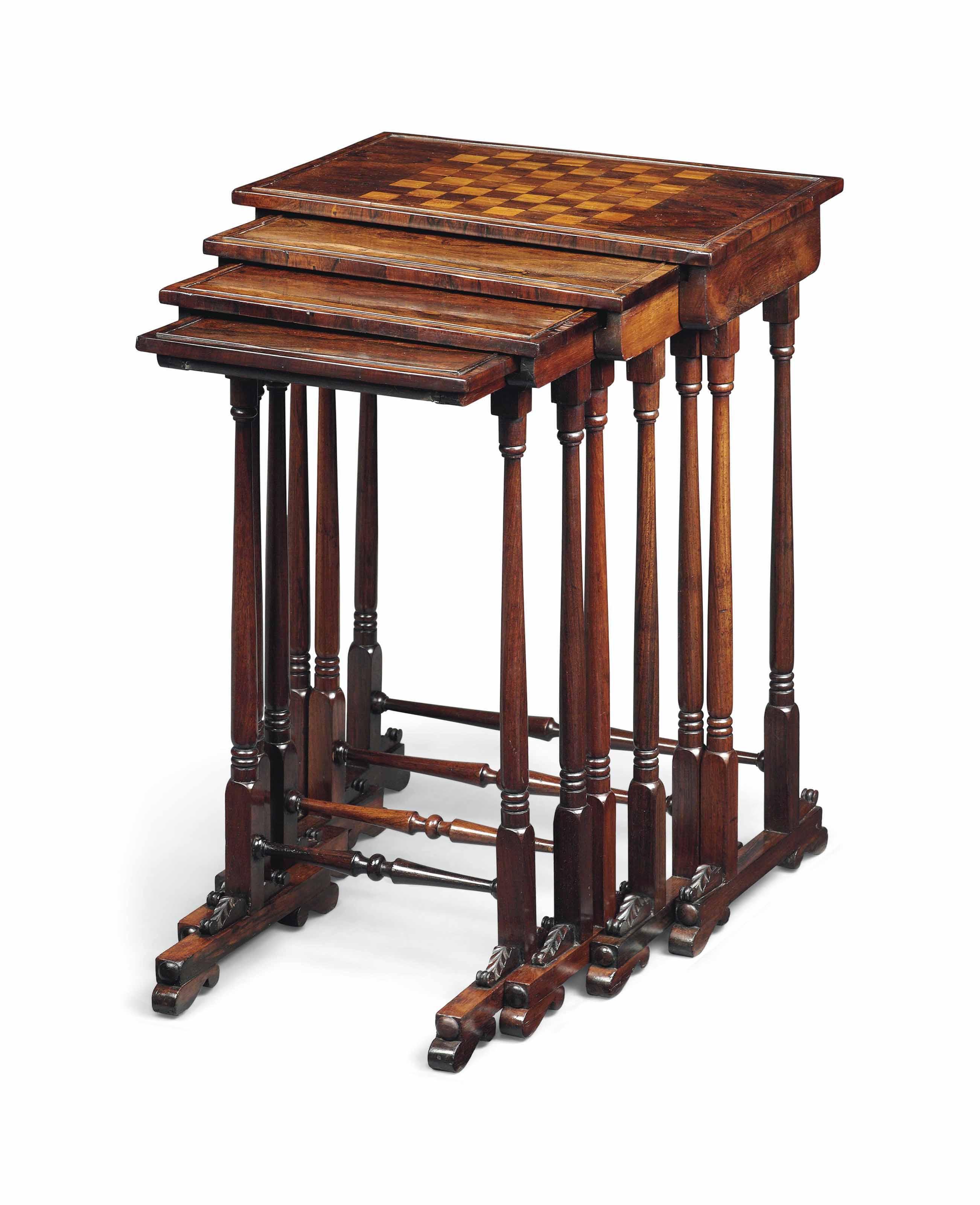 A SET OF WILLIAM IV ROSEWOOD QUARTETTO TABLES