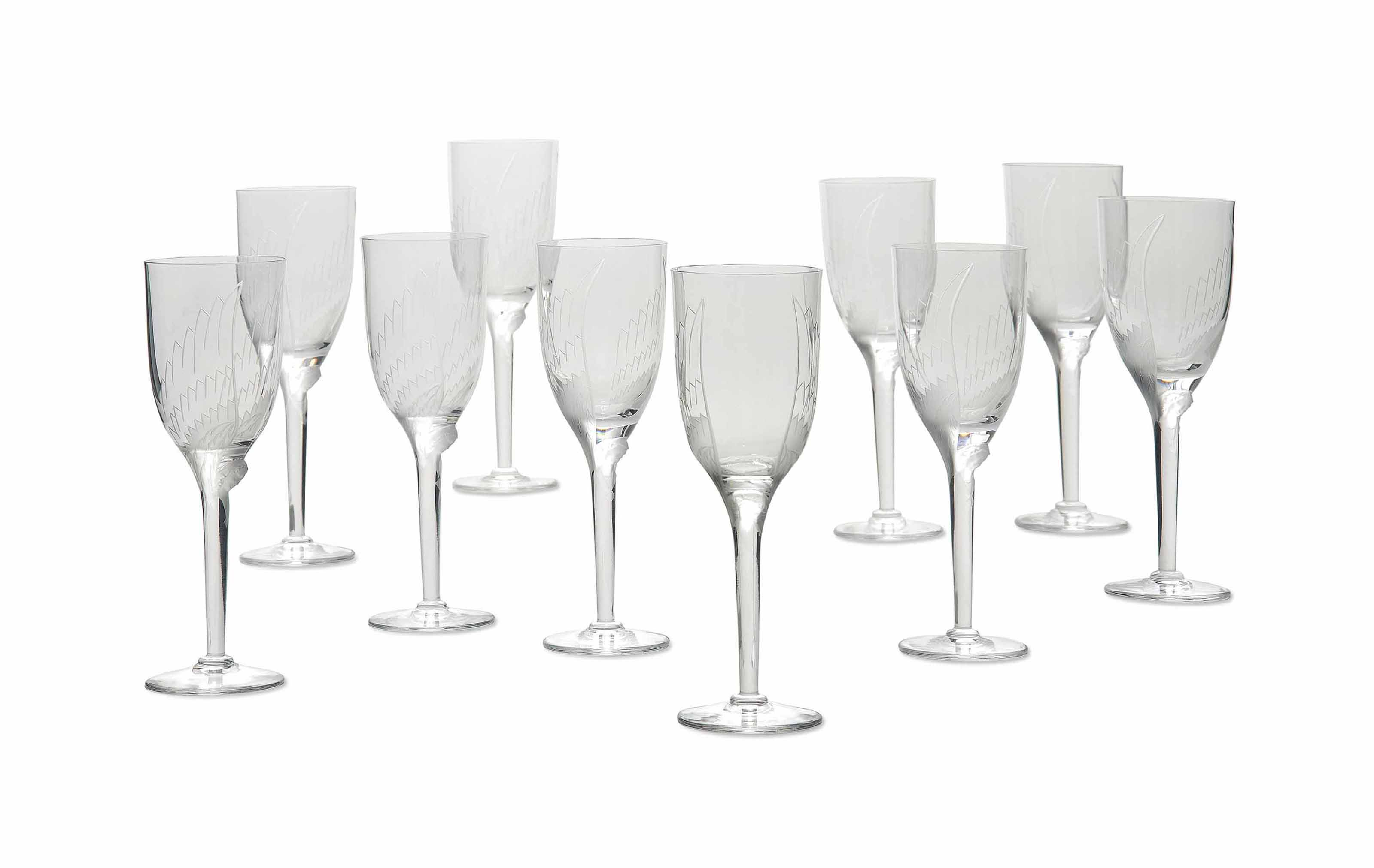 A SET OF TEN LALIQUE CLEAR AND FROSTED GLASS WINE GLASSES