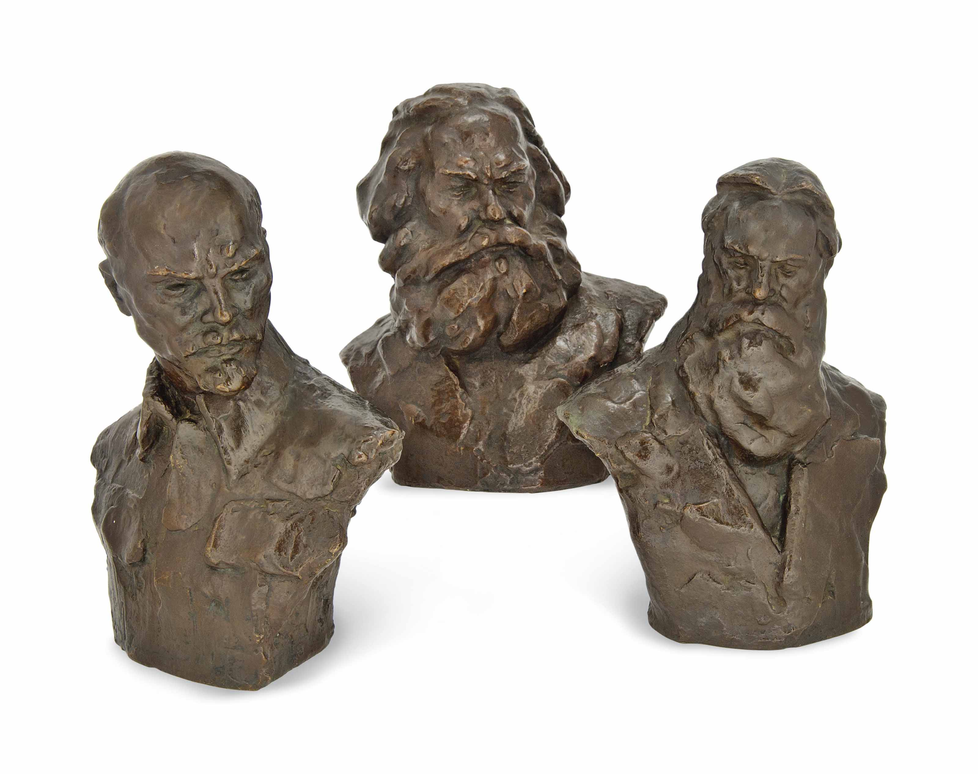 THREE BRONZE BUSTS OF KARL MAR