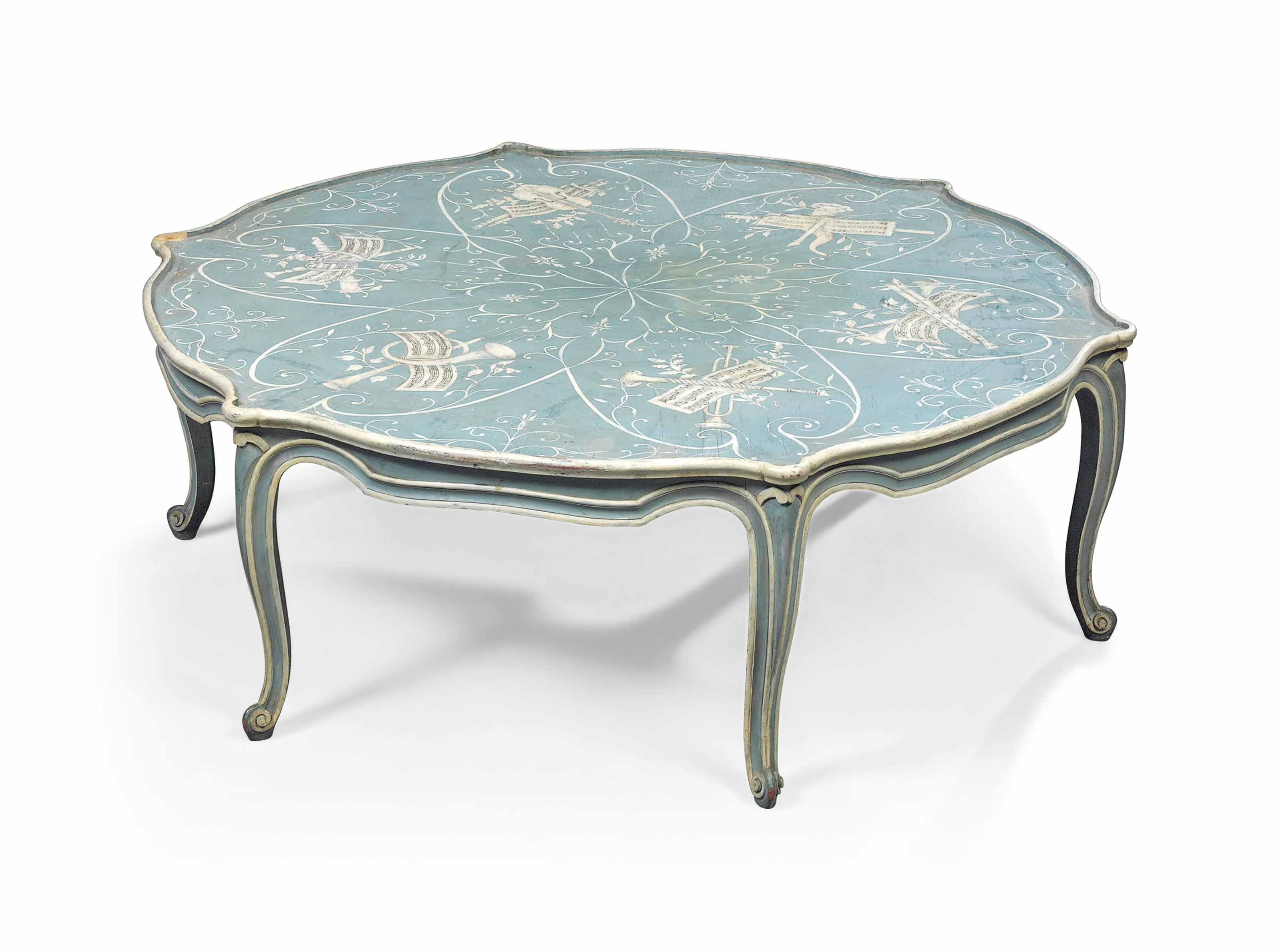 A FRENCH BLUE AND WHITE PAINTED LOW TABLE