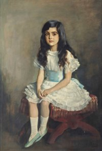 Portrait of a young girl, full-length, in a white dress sitting on a red stool