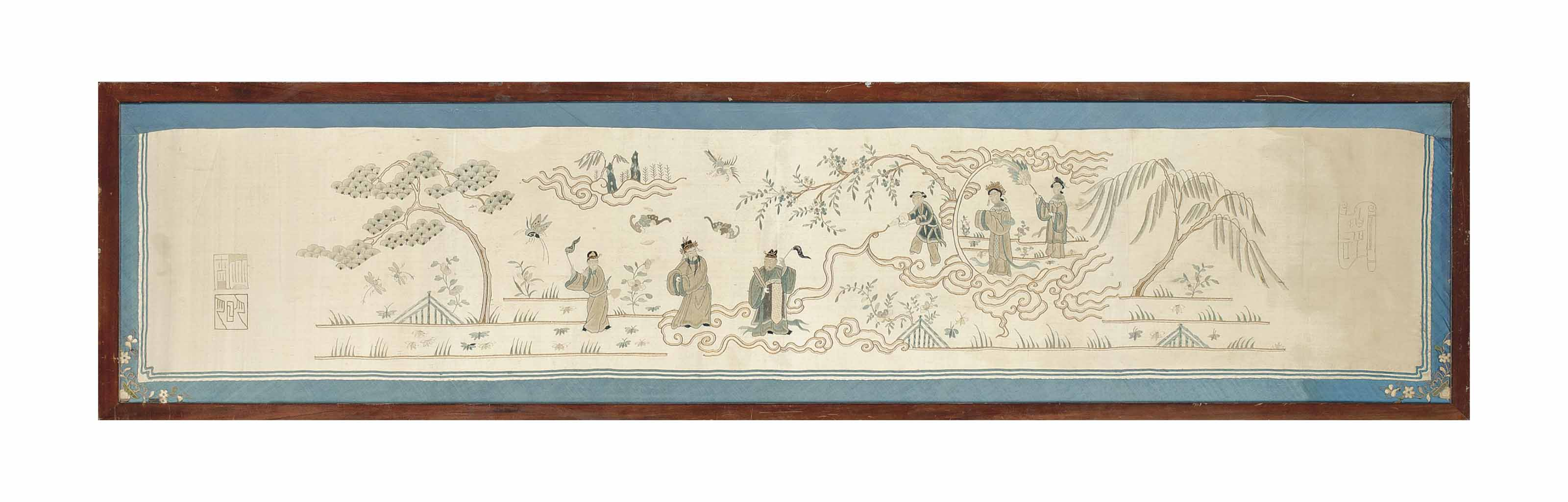A CHINESE EMBROIDERED SILK PAN