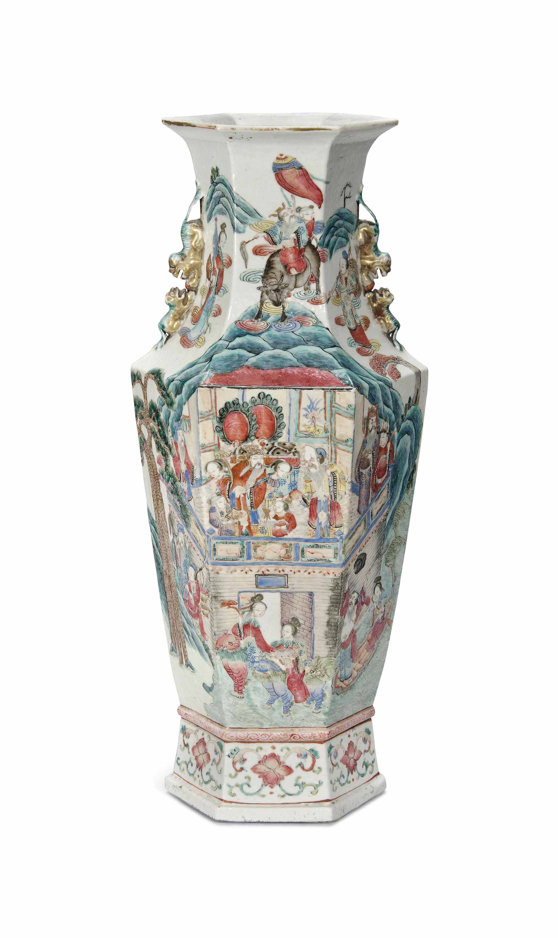 A CHINESE FAMILLE ROSE HEXAGONAL VASE