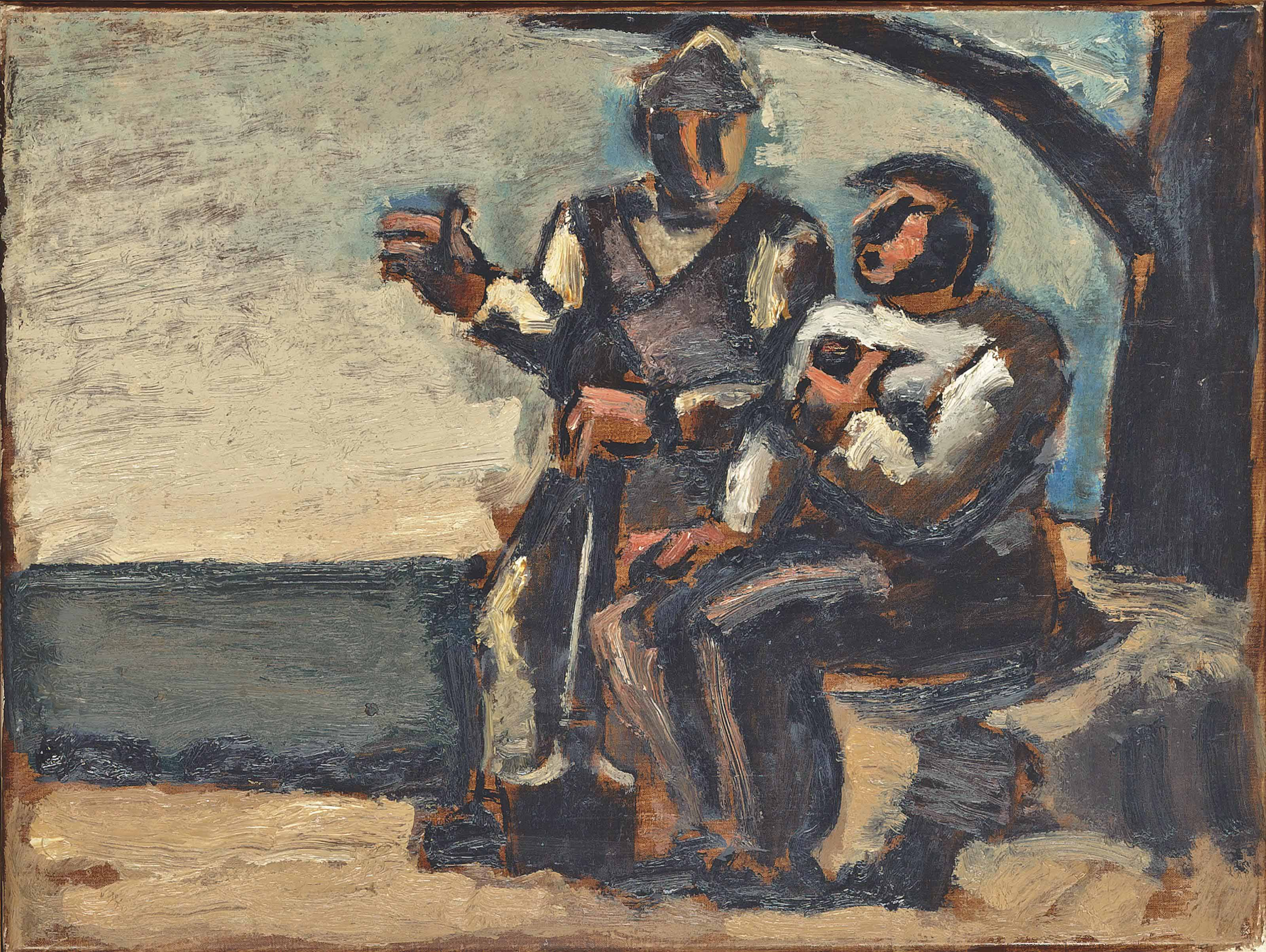 Two workmen sitting under a tree