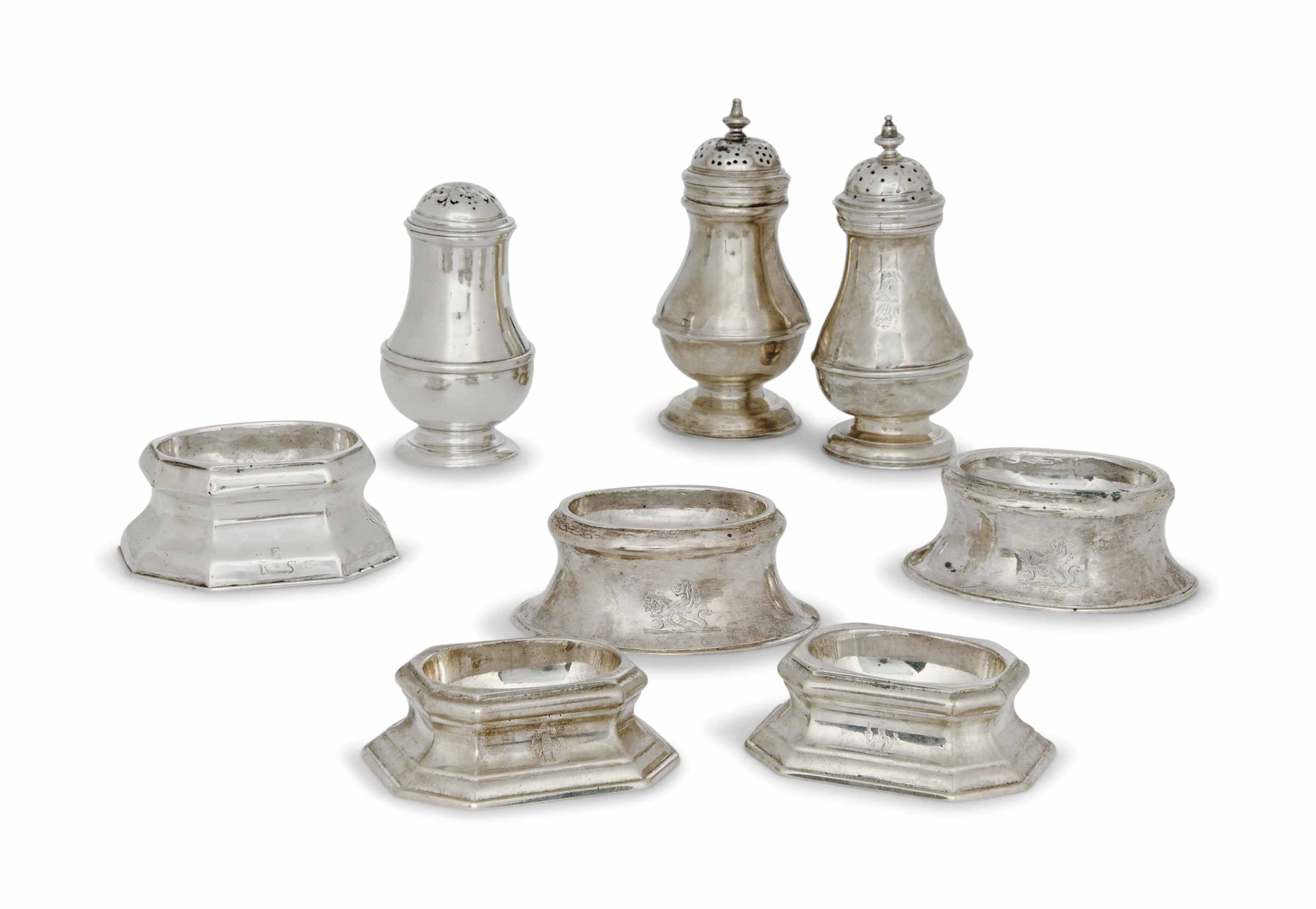 A PAIR OF GEORGE I SILVER OCTA