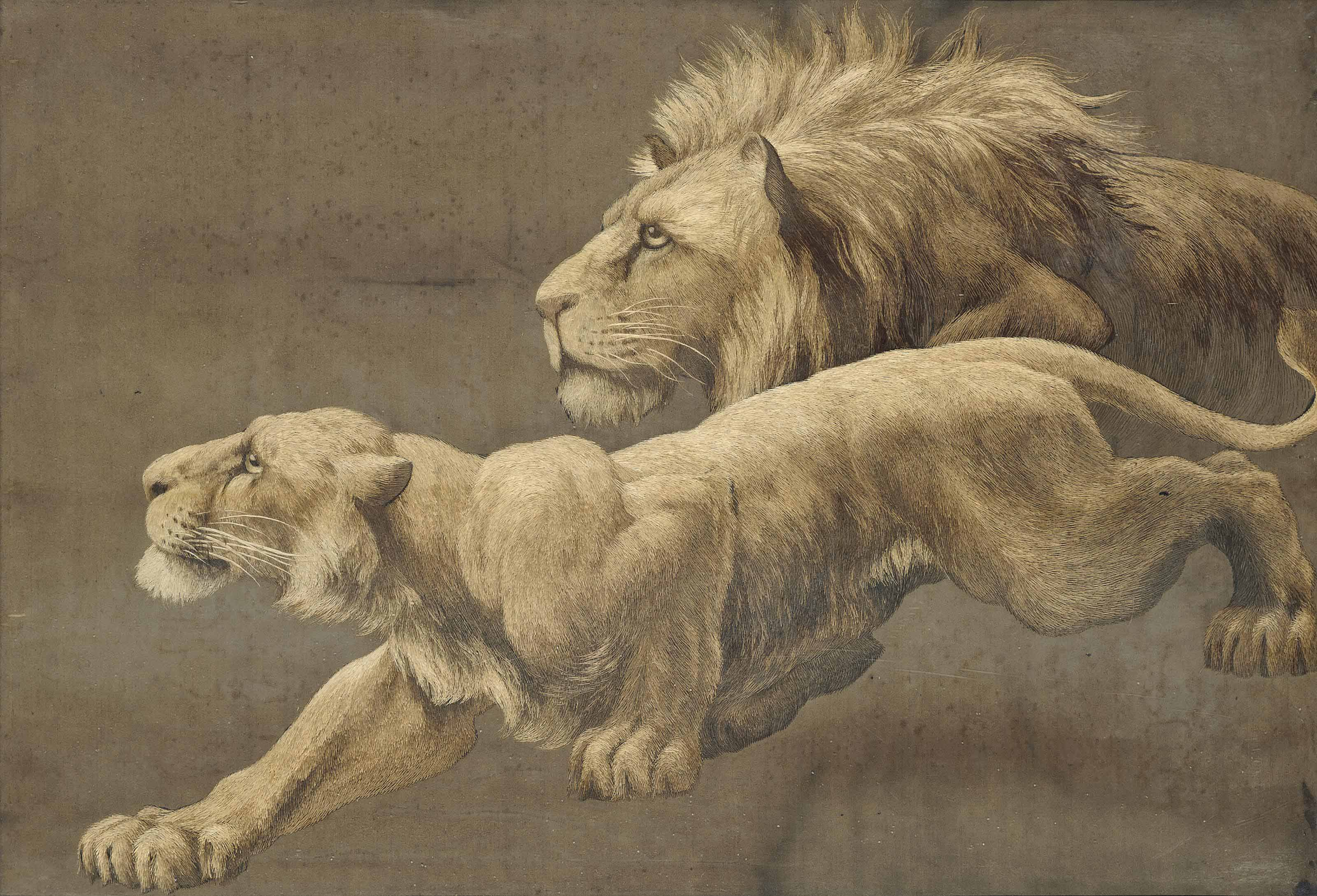 A JAPANESE SILK EMBROIDERED PICTURE OF A LION AND LIONESS