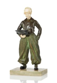 A LOUIS SOSSON COLD-PAINTED BRONZE AND IVORY FIGURE