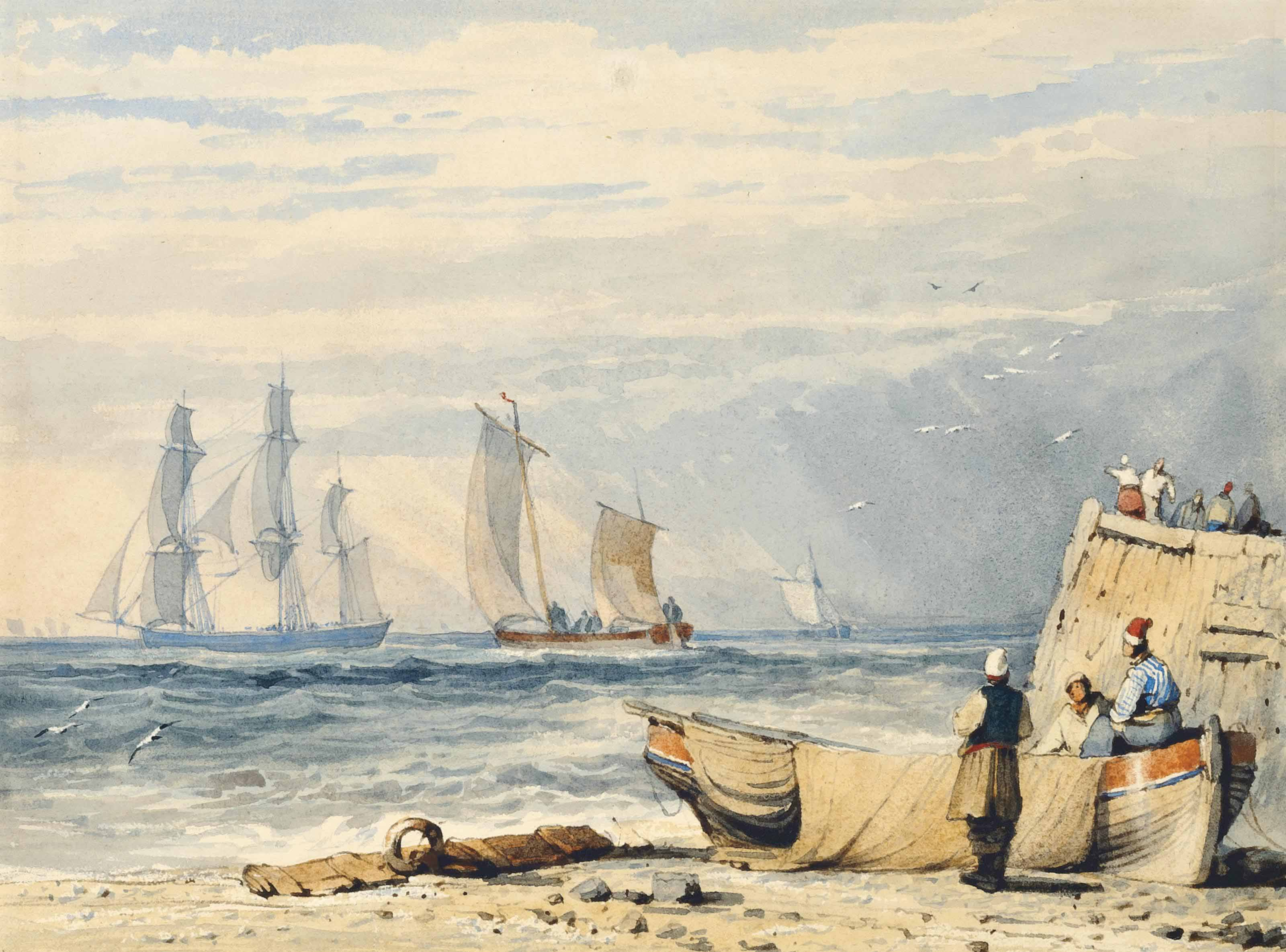 Figures by a fishing smack with shipping off-shore