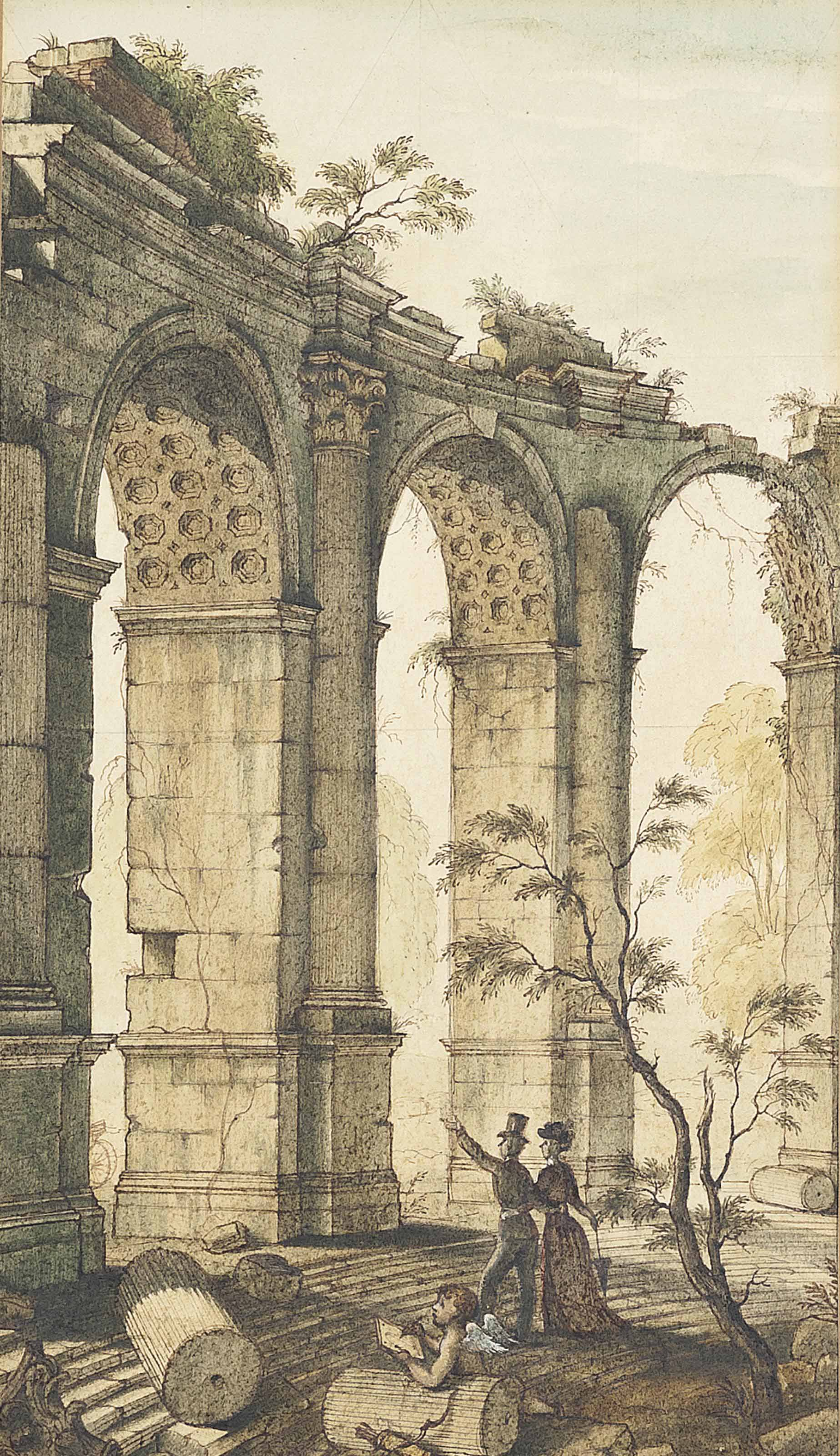 The Honeymoon (recto); and A sketch of a nude classical goddess and architecture (verso)