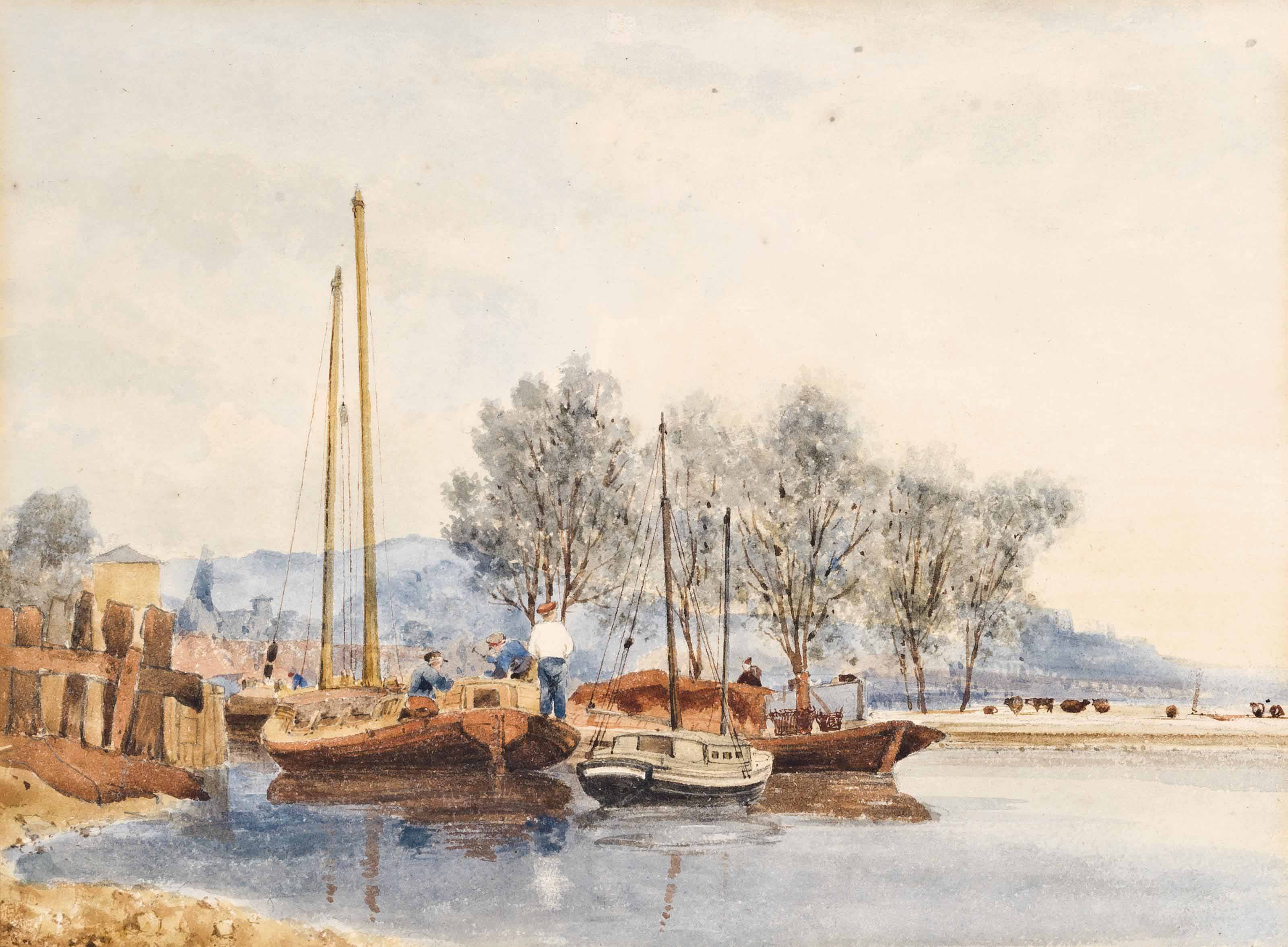 Woman and child on the outskirts of a village; and The river at Thorpe Meadows, Norwich (illustrated)