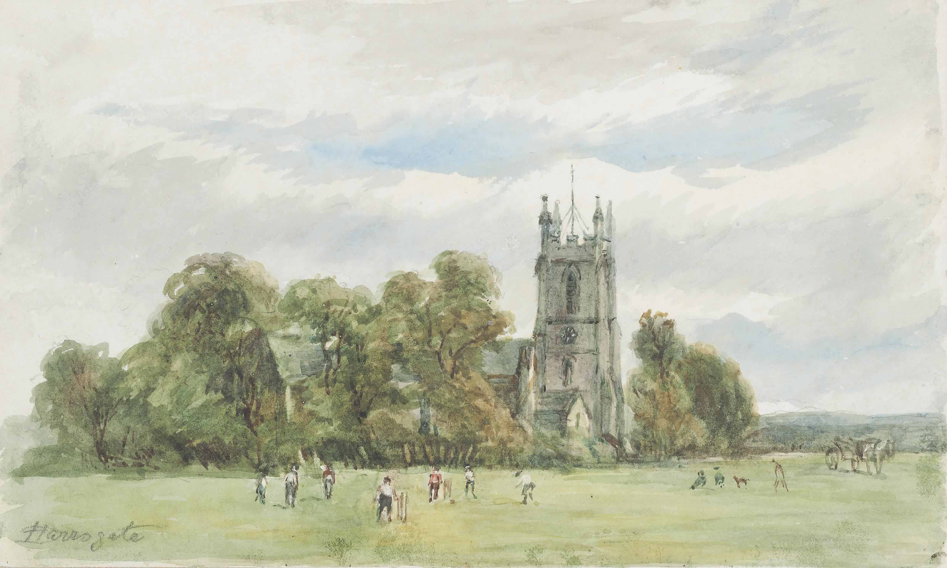 A cricket match at Harrogate; A river scene with a moored rowing boat and a fisherman beyond; and A cottage in a wooded landscape