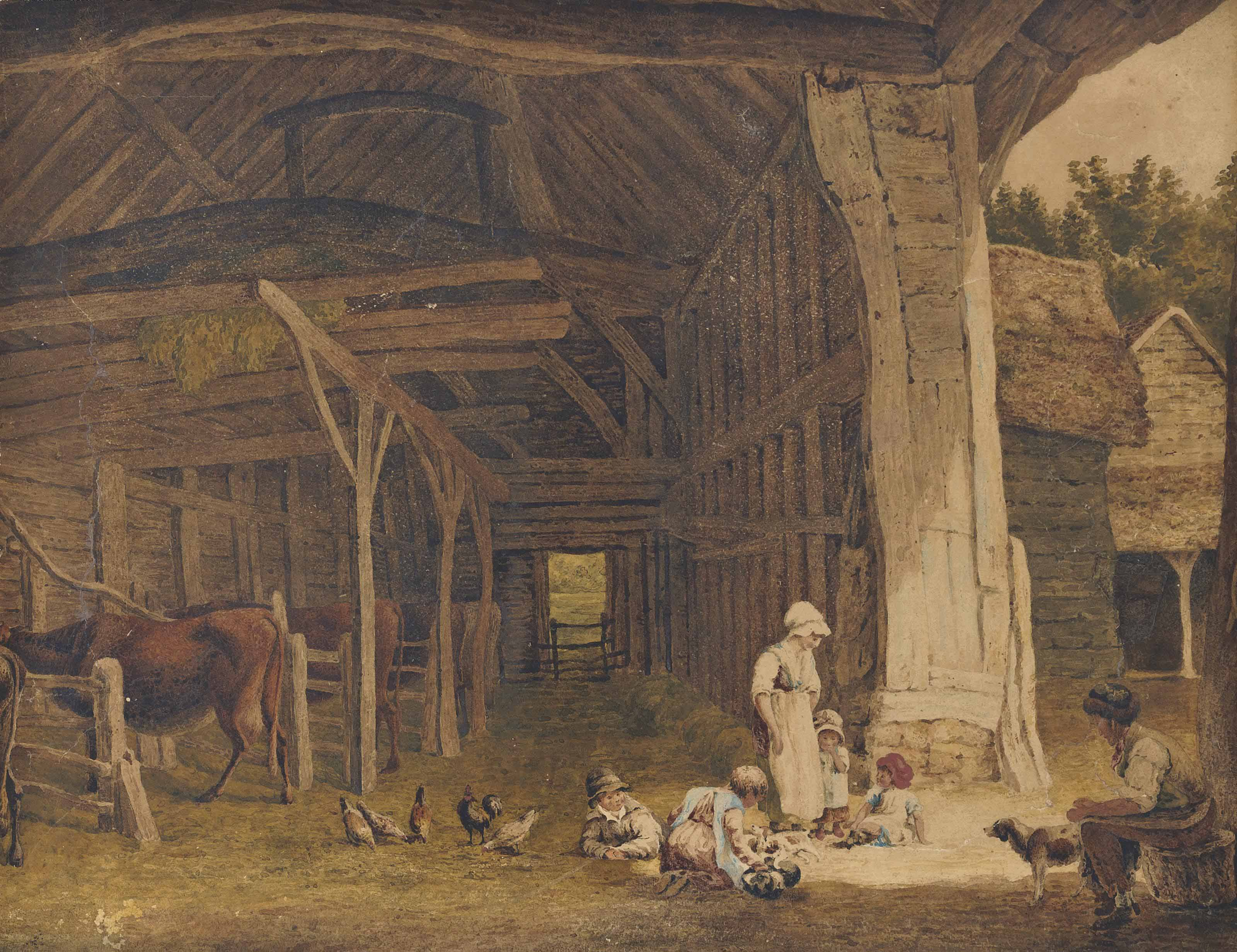 A Rustic family in a barn (illustrated); Ruins of Dover Priory; and Cottages at Breadwater