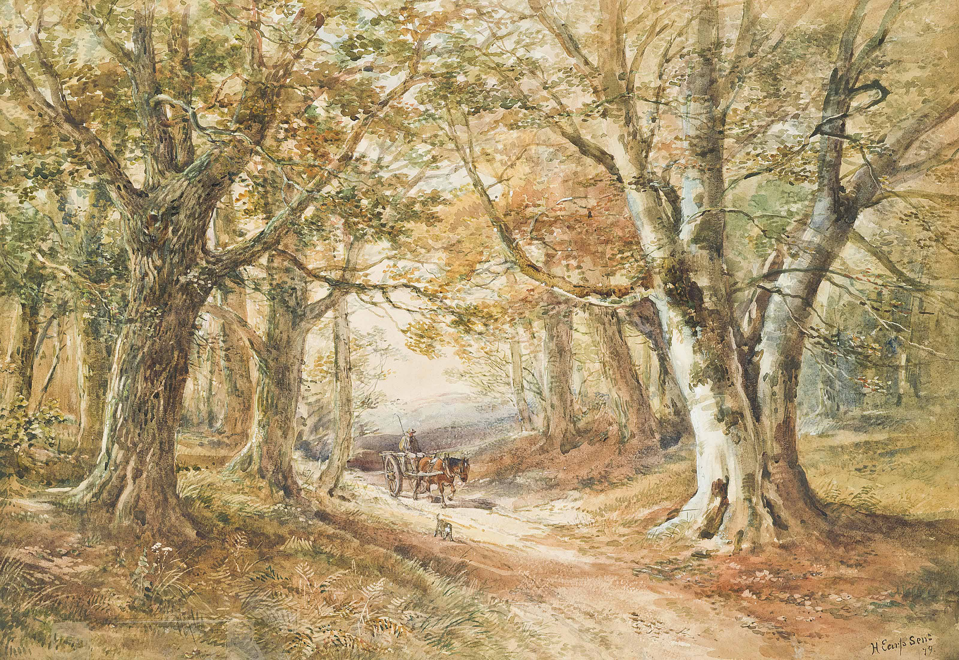 Horses and wagons on a country path; and A wooded landscape with rustics on a horse-drawn cart (one illustrated)