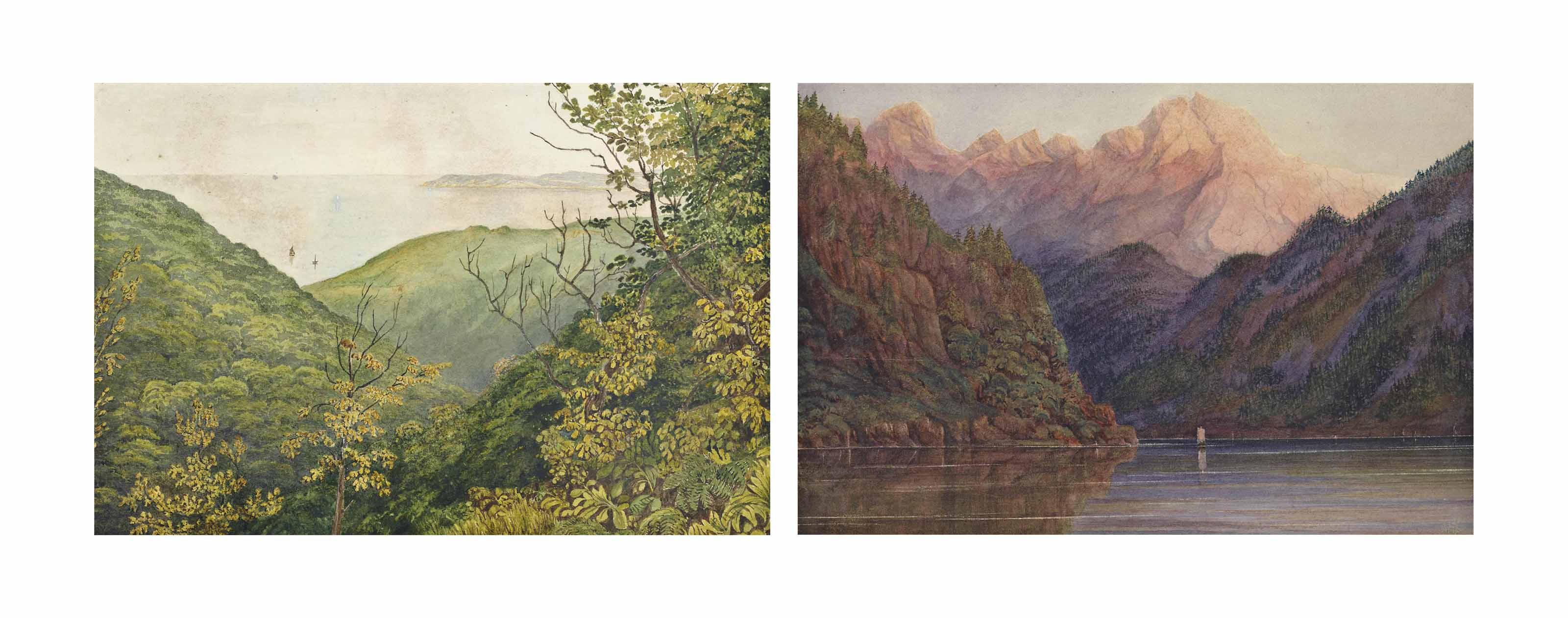 An album of approximately 110 watercolours of tours of the British Isles and Switzerland from 1842-1864; and ten further framed views of: Barnstable Bay, Devon (illustrated); Herne Bay, Kent; Lower Clapton Gardens, London; Lake Thun, Evening, Switzerland; Wallenstadt Lake, Switzerland; Lake of Brienz from Griesbach Falls, Switzerland (illustrated) ; Menais Straits from a hill near Beaumaris, Wales; Bedgelert, Vale of Gwynant, Wales; A view of a North Wales pass; and Snowdon from the Vale of Gwynant, Wales