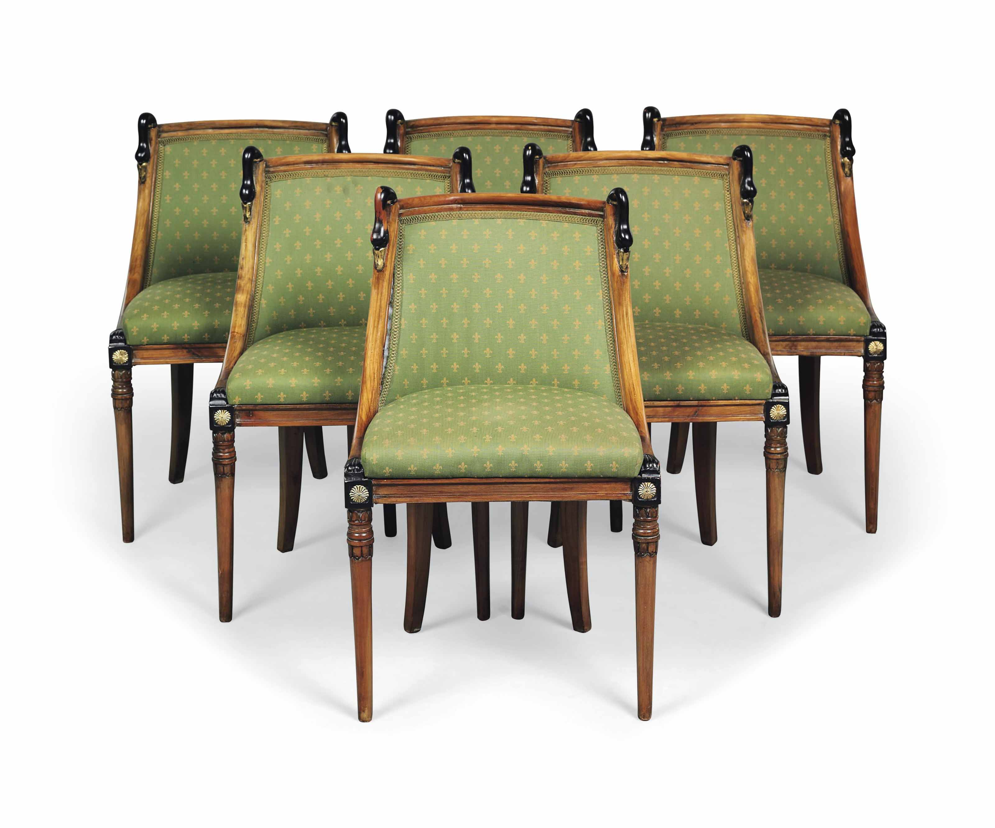 A SET OF SIX FRENCH FRUITWOOD,