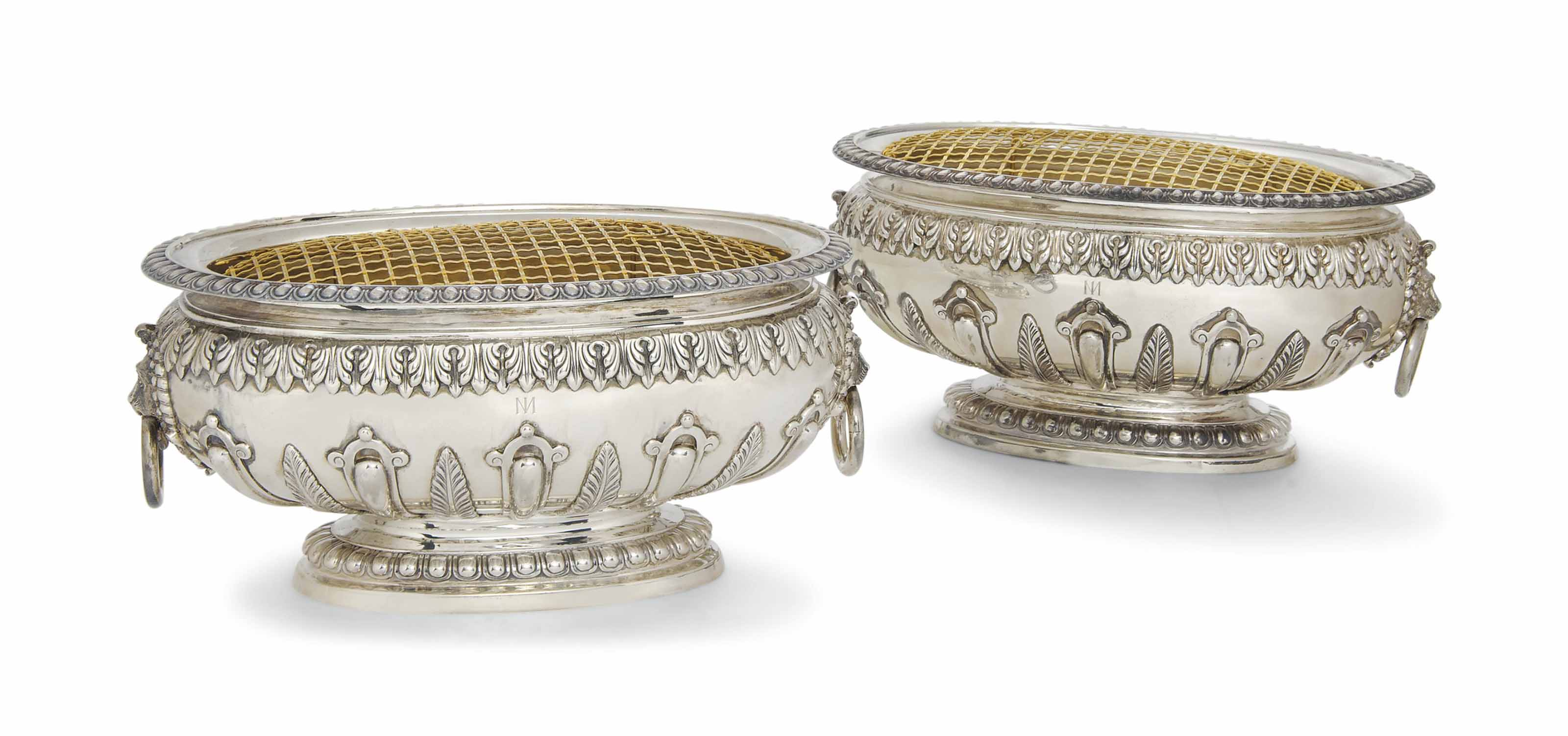 A PAIR OF OVAL SILVER JARDINIE