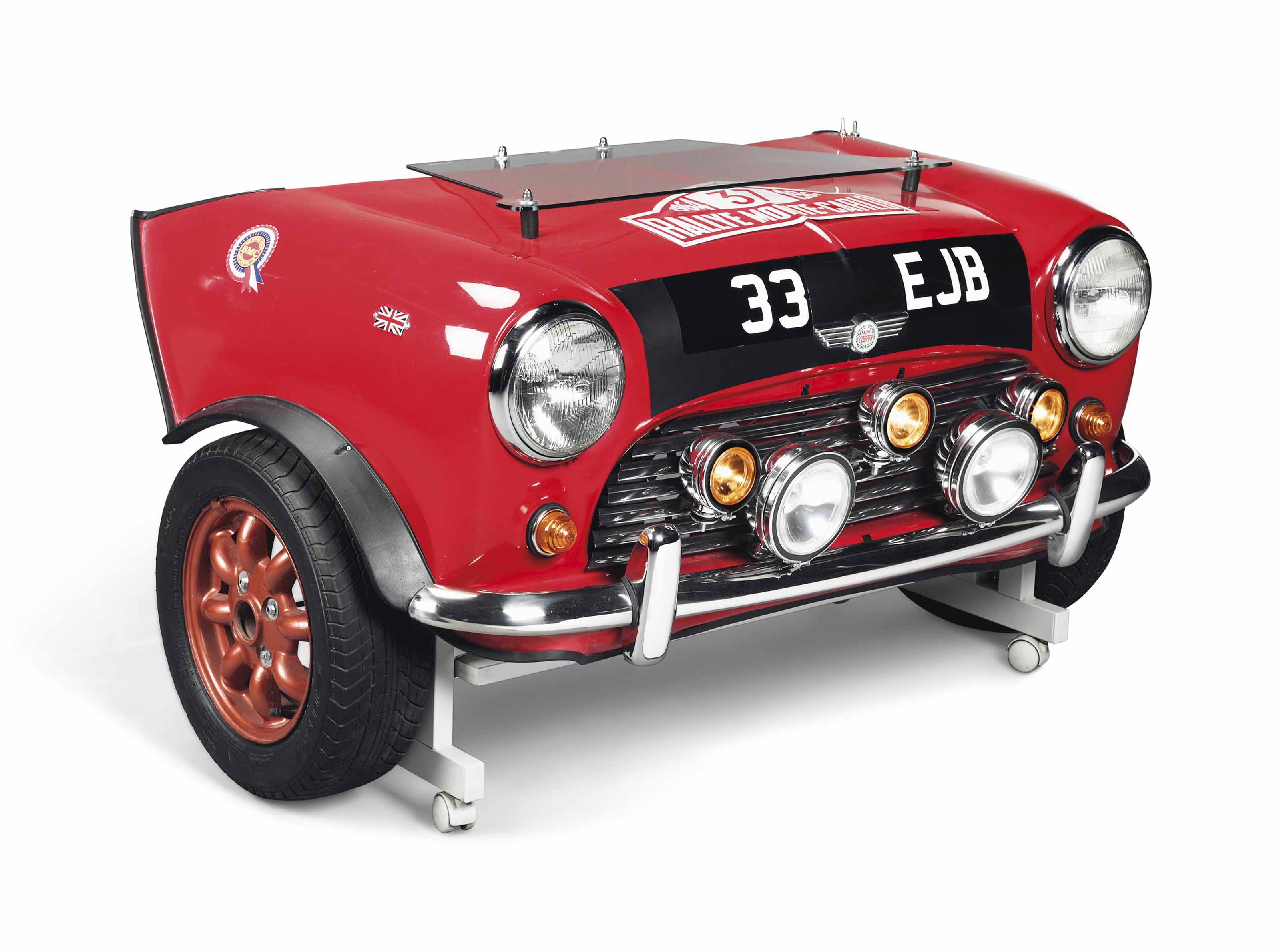 AN UNUSUAL 1964 MONTE CARLO RALLY REPLICA MINI FRONT END IN THE FORM OF A DESK