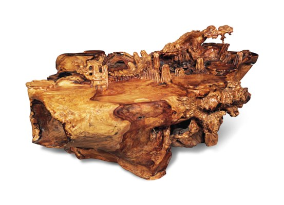 A LARGE CHINESE CARVED YEWWOOD