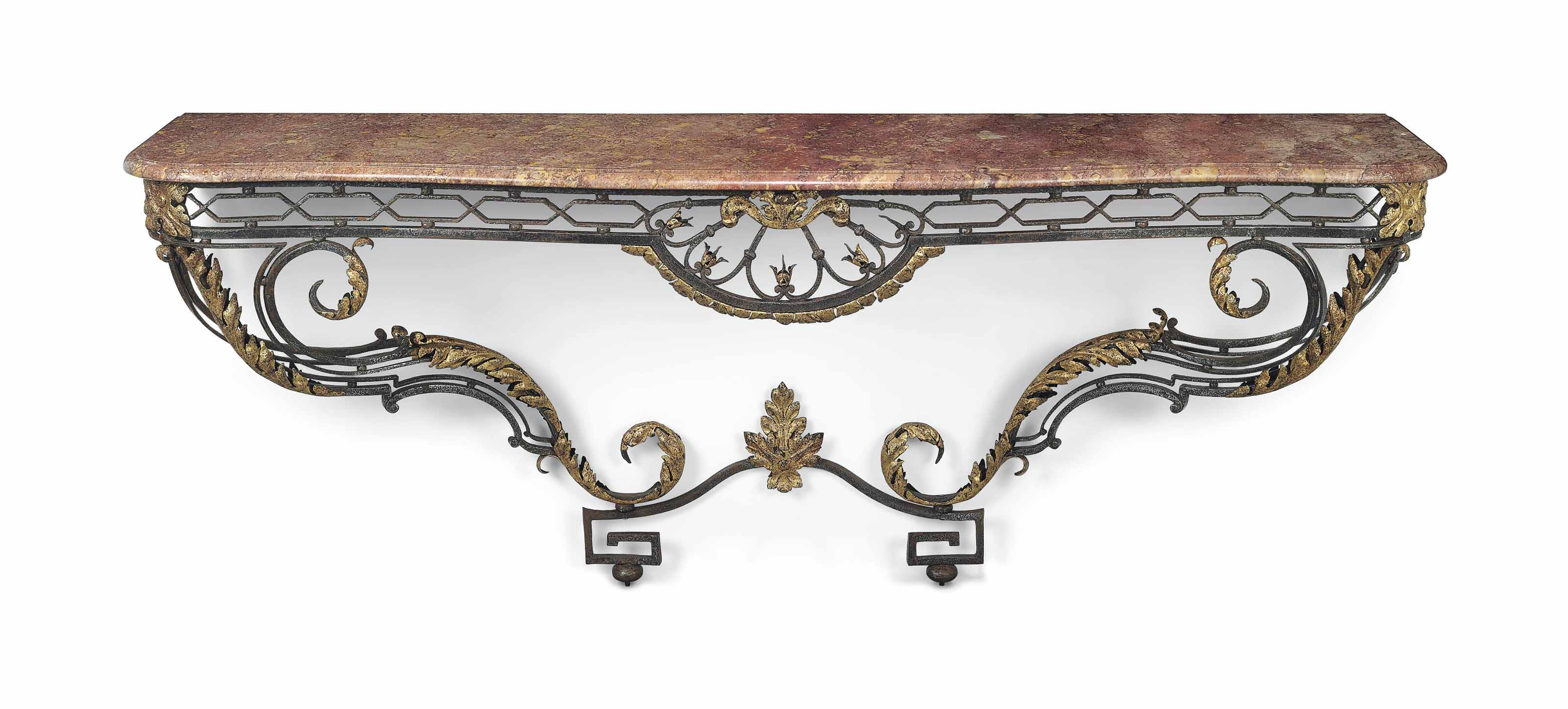 A LARGE FRENCH WROUGHT IRON AN