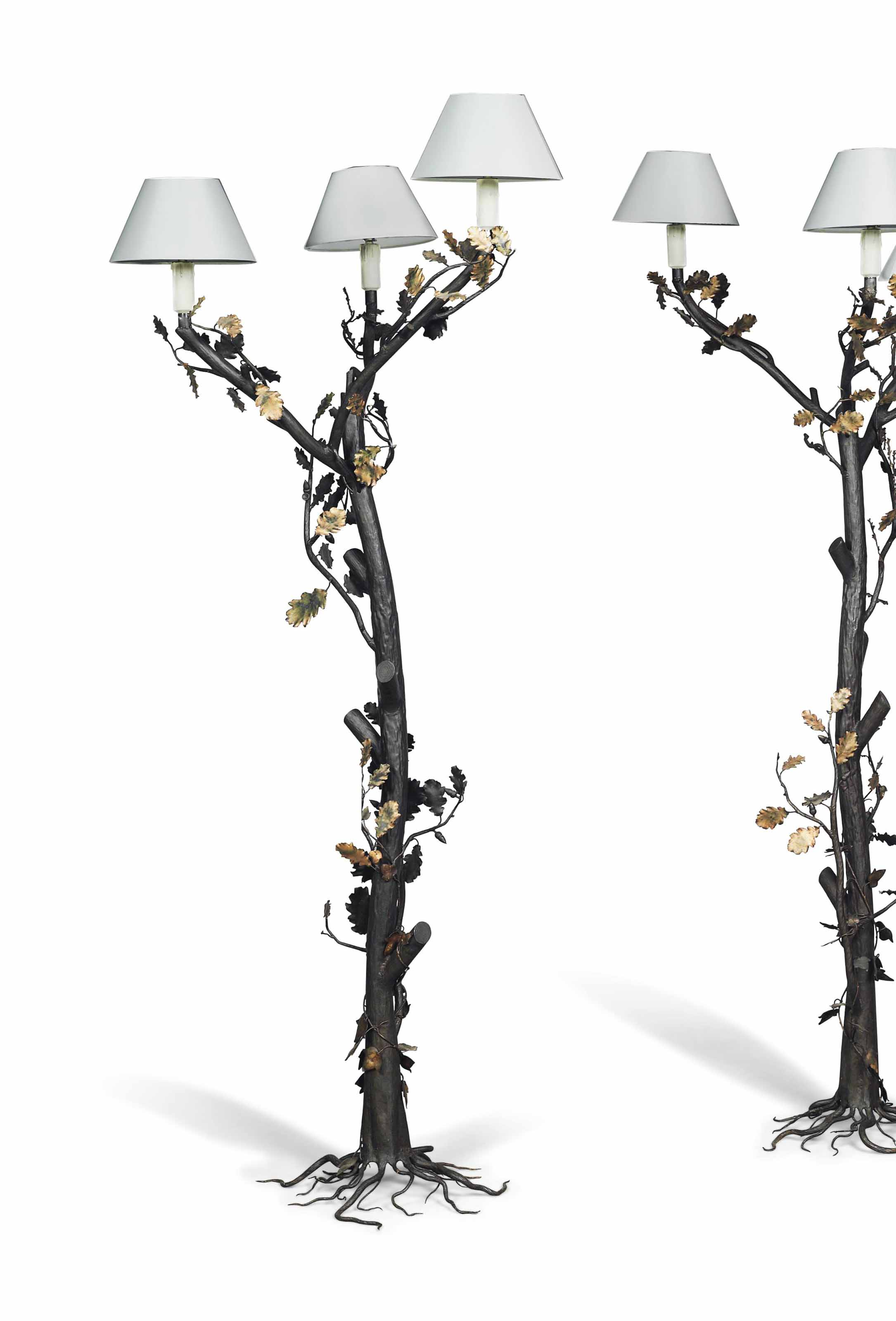 A PAIR OF GILT AND PATINATED W