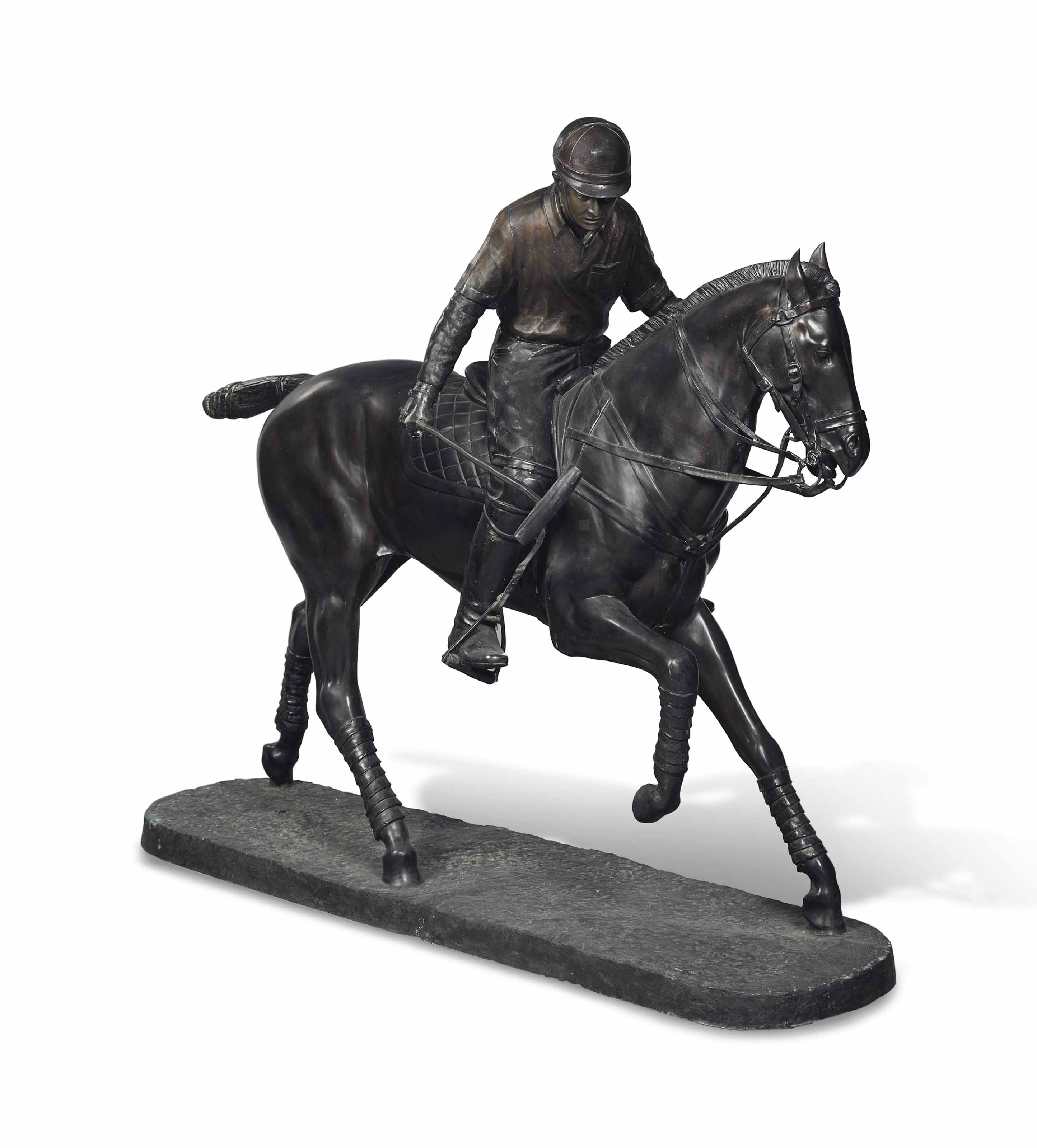 A LARGE BRONZE GROUP OF A POLO