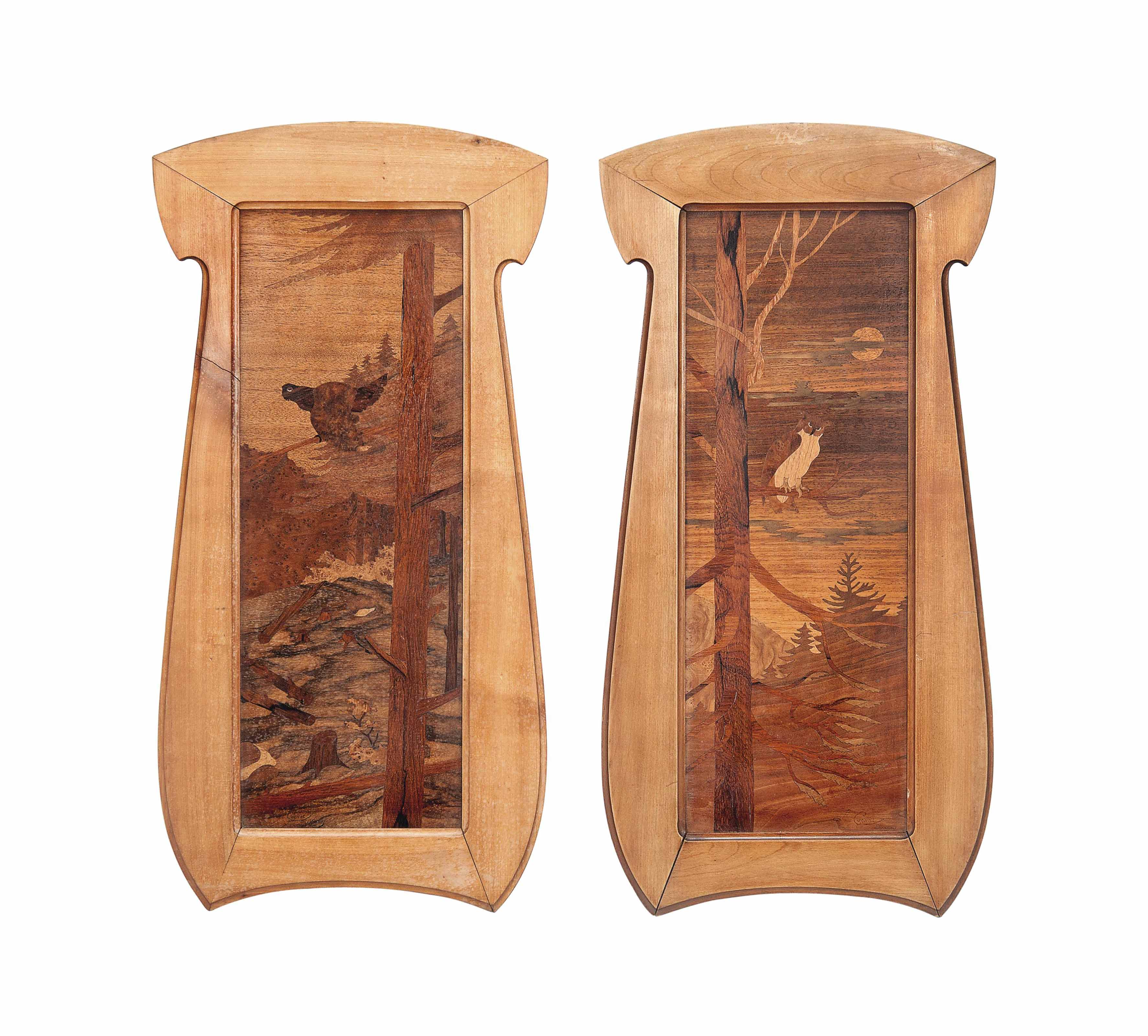 A PAIR OF MARQUETRY PANELS ATT