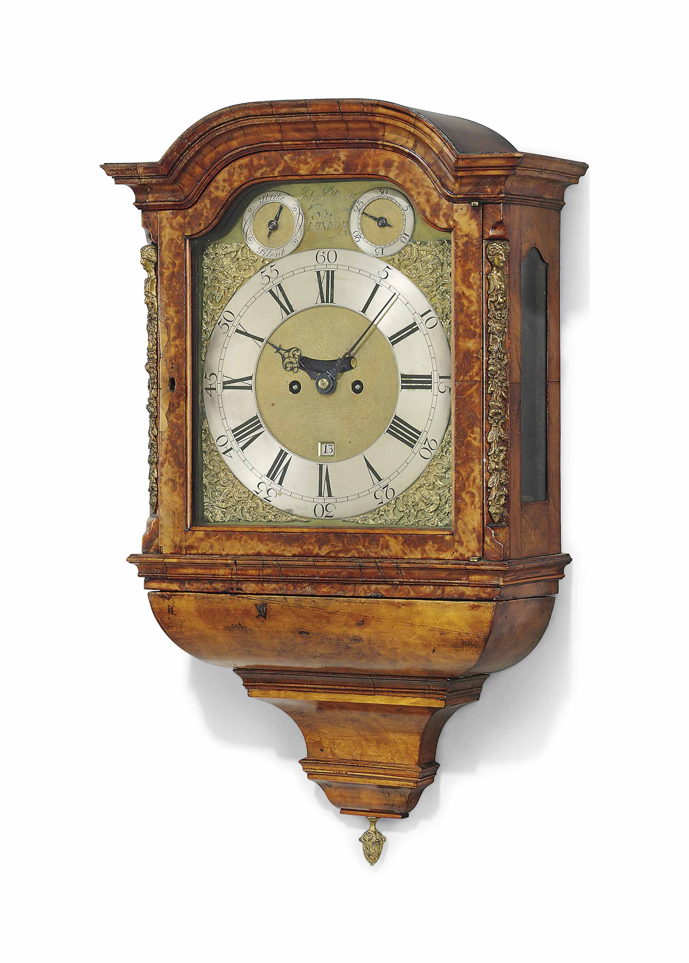 A GEORGE II WALNUT EIGHT-DAY STRIKING HOODED WALL CLOCK